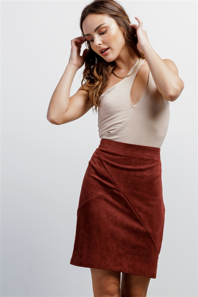 Redwood Faux Suede High-Waisted Asymmetrical Stitch Mini Skirt /1-2-1-1
