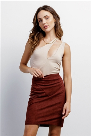 Redwood Faux Suede High-Waisted Asymmetrical Stitch Mini Skirt /3-2-1