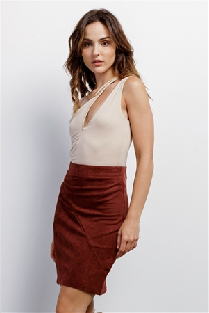 Redwood Faux Suede High-Waisted Asymmetrical Stitch Mini Skirt /1-1-2-2-1
