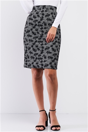 Black And White Checkered And Floral Print High Waisted Pencil Skirt / 1-2-2-1
