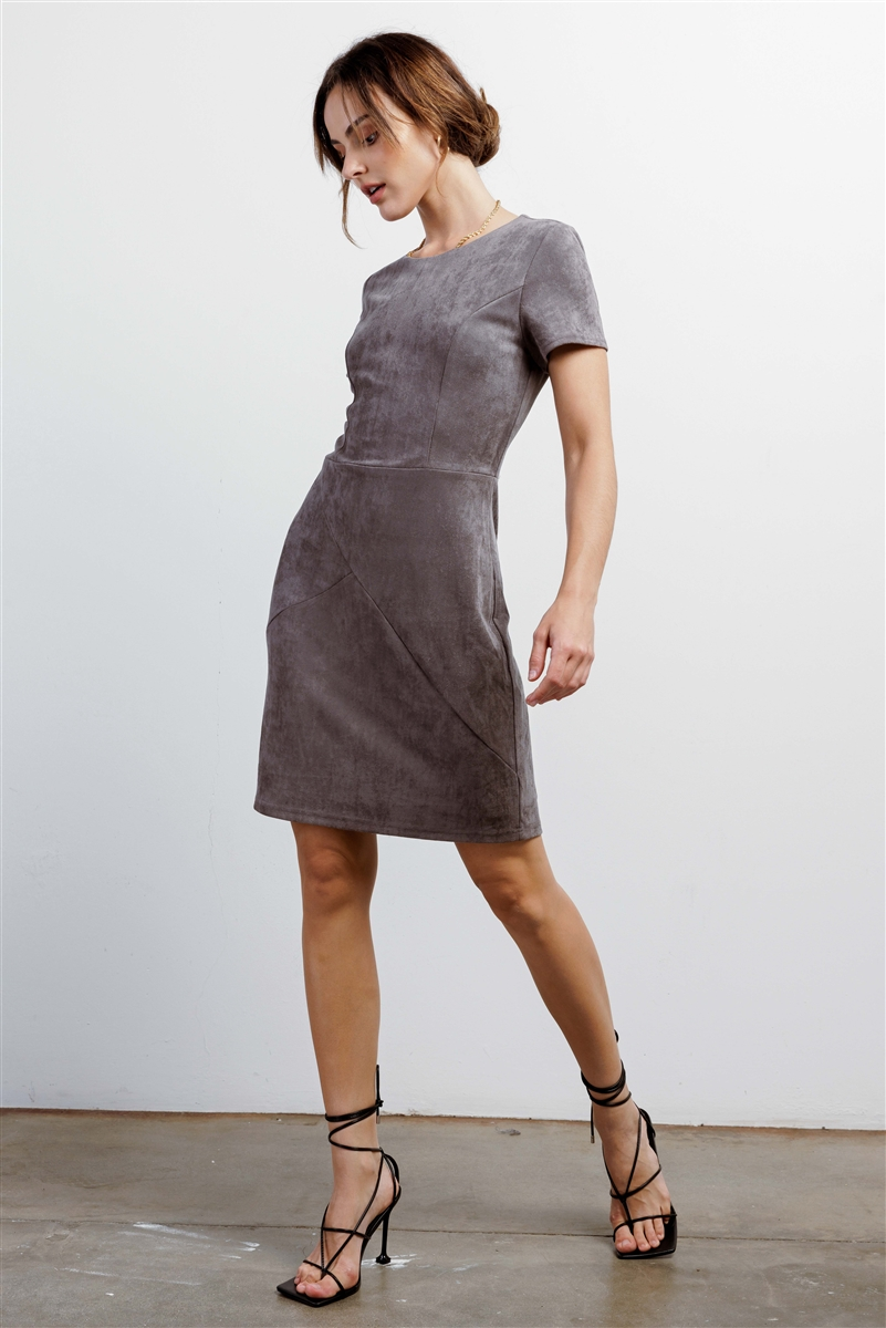Heather Grey Faux Suede Short Sleeve Round Neck Fitted Mini Dress /1-2-2-1