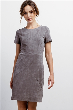 Heather Grey Faux Suede Short Sleeve Round Neck Fitted Mini Dress /2-3-2