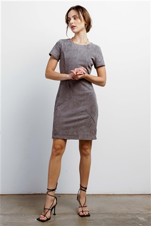 Heather Grey Faux Suede Short Sleeve Round Neck Fitted Mini Dress /1-1-1-1-1-1