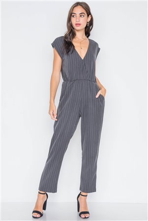 Carbon Stripe Surplice Straight Leg Jumpsuit