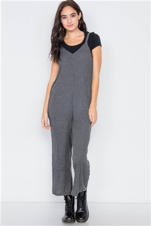 Charcoal V-Neck Ribbed Knit Gaucho Jumpsuit /
