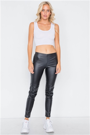Black Mock Leather Ankle Leggings