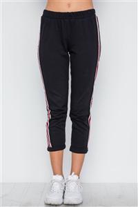 74e9a7953 Black Contrast Trim High Waist Sweat Pants /1-2-2