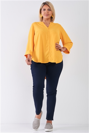 Junior Plus Size Tuscan Sun Yellow V-Neck Midi Sleeve Pleated Back Detail Relaxed Tunic Top /2-2-1