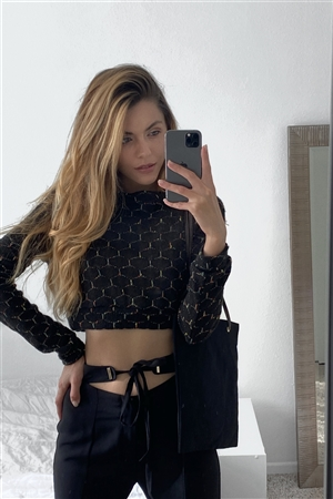 Black Hexagon Print Crop Pullover