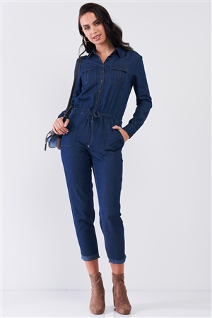 Dark Blue Long Sleeve Button Down Front Self-Tie Waist Denim Jumpsuit