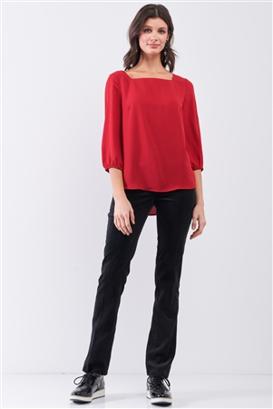Red Square Neck 3/4 Puff Sleeve With Elasticated Hem Loose Fit Top /1-3-2