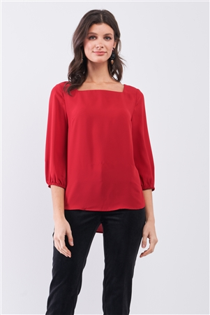 Red Square Neck 3/4 Puff Sleeve With Elasticated Hem Loose Fit Top /1-1-3-2