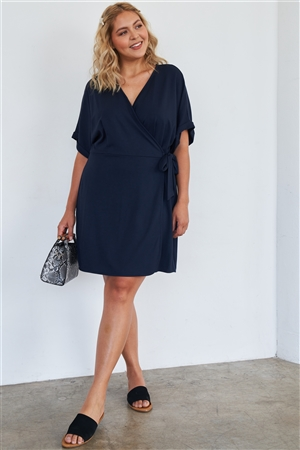 Navy Soft Comfortable Short Sleeve Stretchy Casual Wrap Dress