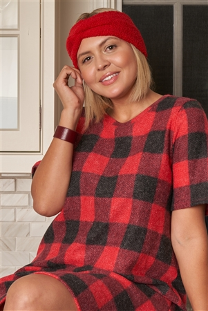 Junior Plus Size Red Buffalo Plaid Checkered Round Neck Short Sleeve Sweater Mini Dress