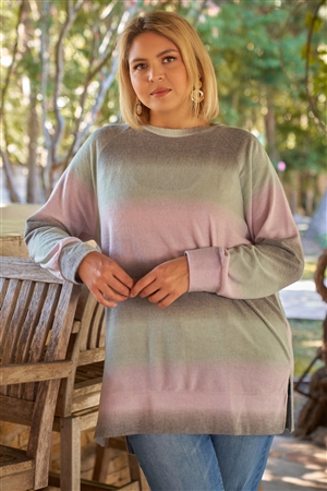 Lavender Grey Green Gradient Crew Neck Long Sleeve Side Slit Long Top /3-2-1