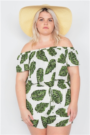 Plus Size Ivory Off-The-Shoulder Tropical Print Flounce Trim  Casual Romper