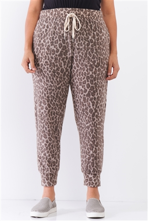 Taupe Brown Leopard Print Self-Tie High Waist Super Soft Lounge Pants /2-2-1