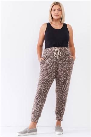 Taupe Brown Leopard Print Self-Tie High Waist Super Soft Lounge Pants /3-2-1