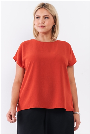 Junior Plus Tangerine Orange Short Sleeve Loose Fit Top /2-2-1-1
