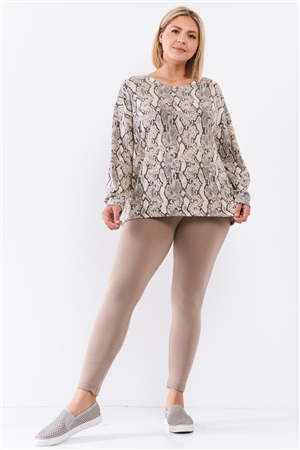 Taupe Snake Print Round Neck Relaxed Fit Long Sleeve Top /1-2-1