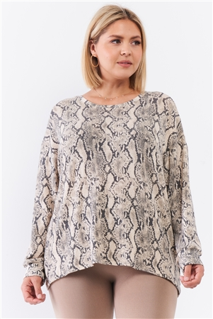 Taupe Snake Print Round Neck Relaxed Fit Long Sleeve Top /3-2-1