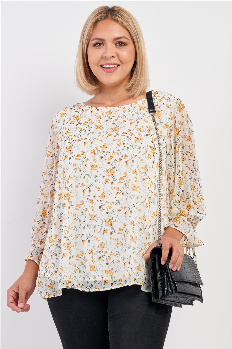 Junior Plus Size Ivory Yellow Floral Print Relaxed Fit Draw String Self Tie Puff Midi Sleeve Top /3-2-1