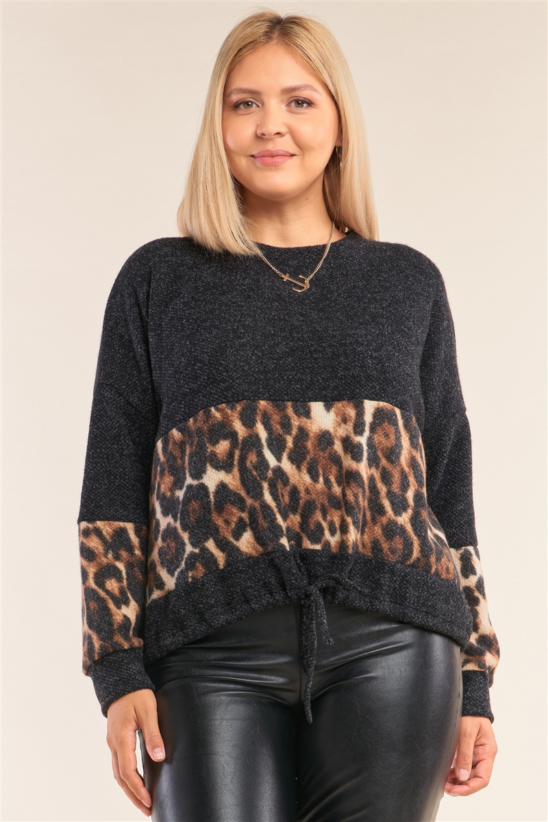 Junior Plus Size Charcoal Grey Leopard Print Trim Round Neck Long Sleeve Draw String Tie Hem Sweater