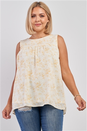 Junior Plus White & Yellow Sleeveless Brushed Print Round Neck Babydoll Top /3-2-1