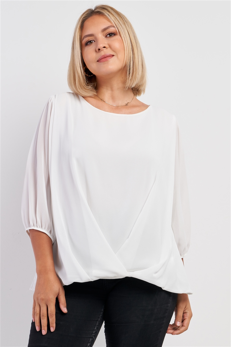 Junior Plus Solid White Loose Fit Front Wrap Detail Elasticized Cuff Ballon Midi Sleeve Top /3-2-1