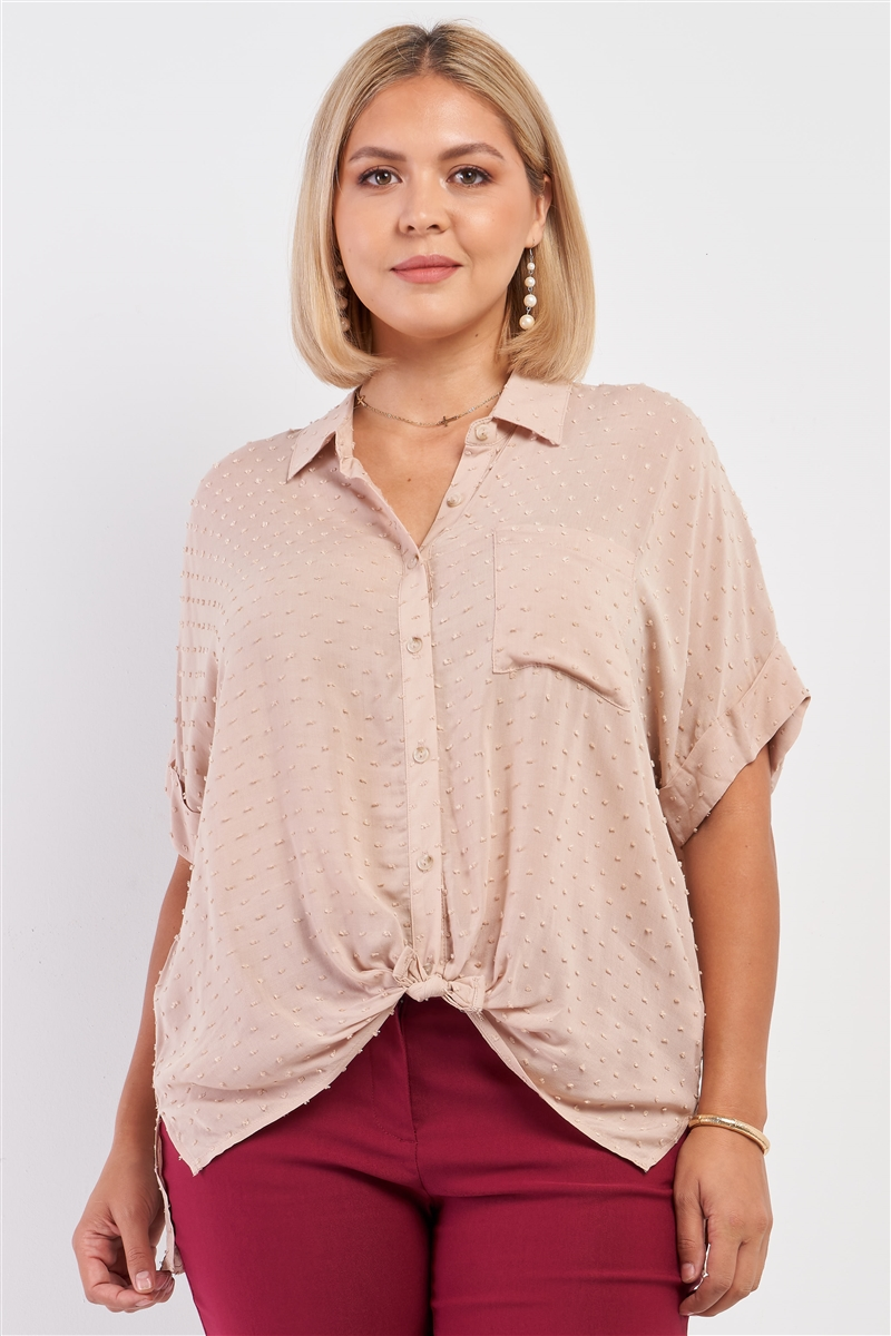 Junior Plus Taupe Short Sleeve Knit Bead Self-Tie Front Detail Button Down Top /3-2-1