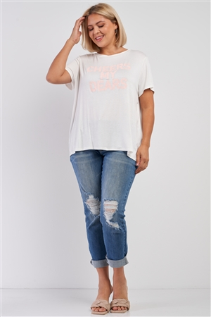 "Junior Plus White Relaxed ""Cheers My Dears"" Print Logo T-Shirt Top /1-2-2"