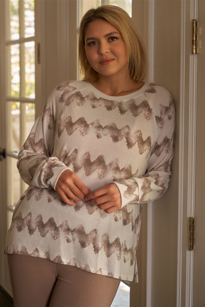 Junior Plus Size Cream & Taupe Abstract Blur Print Relaxed Sweatshirt /3-2-1