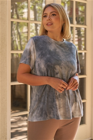 Junior Plus Charcoal Tie-Dye Print Round Neck Short Sleeve Relaxed Fit T-Short Top /3-2-1