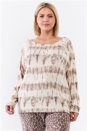 Junior Plus Ivory Acid Wash Print Bateau Neck Relaxed Fit Long Sleeve Top /2-2-1