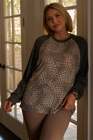 Junior Plus Size Khaki & Charcoal Leopard Print Long Sleeve Relaxed Top /3-2-1