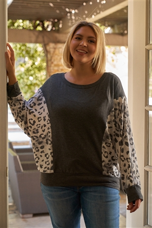 Junior Plus Charcoal-Ivory Leopard Print Contrast Long Sleeve Relaxed Round Neck Top /3-2-1