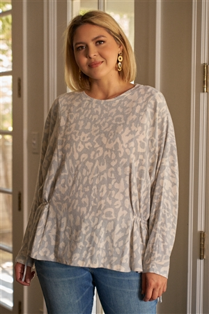 Junior Plus Size Light Blue & Ivory Animal Print Gathered Sides Detail Long Sleeve Top /3-2-1