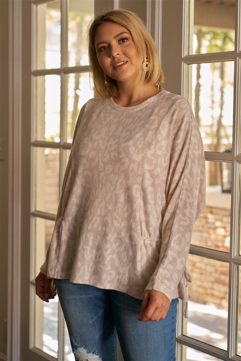 Junior Plus Size Mauve & Ivory Animal Print Gathered Sides Detail Long Sleeve Top /3-2