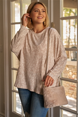 Junior Plus Size Mauve & Ivory Animal Print Gathered Sides Detail Long Sleeve Top /3-2-1
