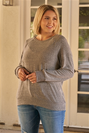 Junior Plus Heather Grey Round Neck Long Sleeve Geometric Stitch Detail Relaxed Fit Sweatshirt /3-2