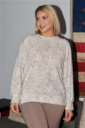 Junior Plus Size Ivory & Brown Dotted Print Super Soft Sweatshirt /3-2-1
