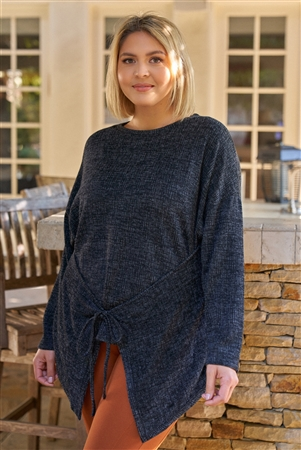 Junior Plus Black & Grey Crew Neck Dropped Shoulder Long Sleeve Front Or Back Self-Tie Detail Knit Top /3-2-1