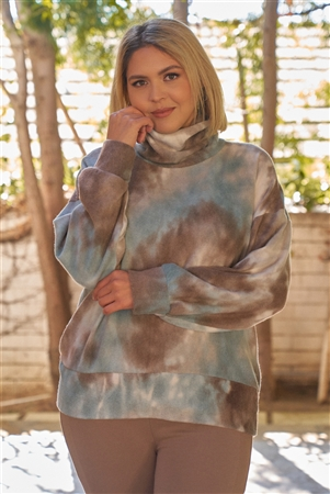 Junior Plus Sage & Brown Tie-Dye Print Turtle Neck Dropped Shoulders Super Soft Sweatshirt /3-2-1