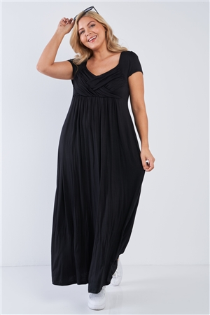 Plus Size Black Short Sleeve Maxi Dress