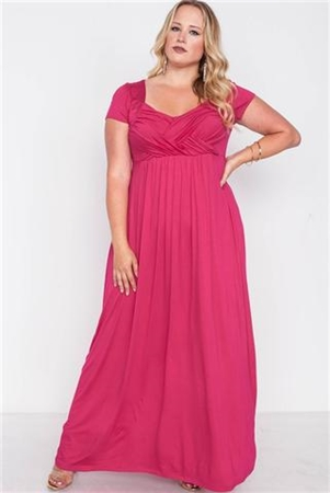 Plus Size Sangria Berry Short Sleeve Maxi Dress