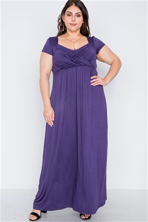 Plus Size Purple Short Sleeve Maxi Dress