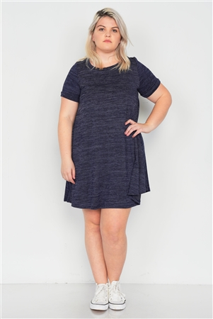 Plus Size Midnight Navy Flare Casual Cuffed Short Sleeve Mini Shirt Dress