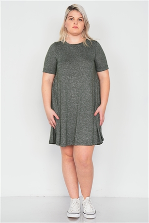 Plus Size Olive Flare Casual Cuffed Short Sleeve Mini Shirt Dress