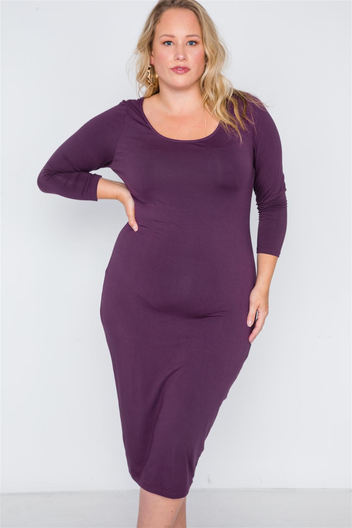 Plus Size Berry Basic Long Sleeve Midi Dress /2-2-2