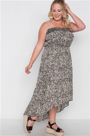 Plus Size Beige Black Strapless High-Low Boho Dress